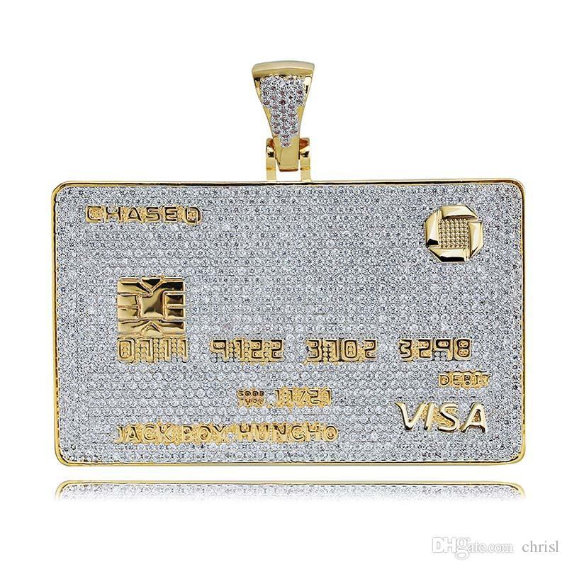 Ожерелье Iced Out VISA Алмазной кредитной карты Подвеска 18K позолоченный Mens HipHop Bling подарок ювелирных изделий