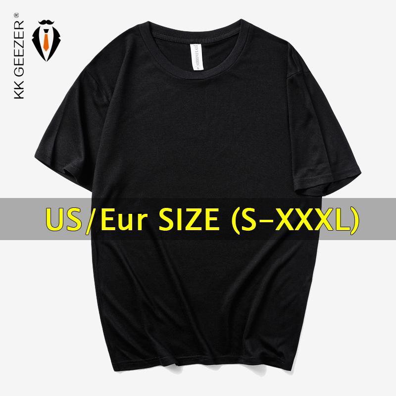 미국 / 유로 플러스 사이즈 남성 T 셔츠 오버 사이즈 2019 T - 셔츠 단색 짧은 소매 T - 셔츠 남성 블랙 화이트 티 셔츠 여름