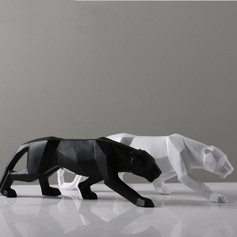 ليوبارد تمثال كبير الحجم حديث تجريدي هندسي نمط الراتنج النحت النمر حيوان تمثال ديكور المكاتب المنزلية حلية