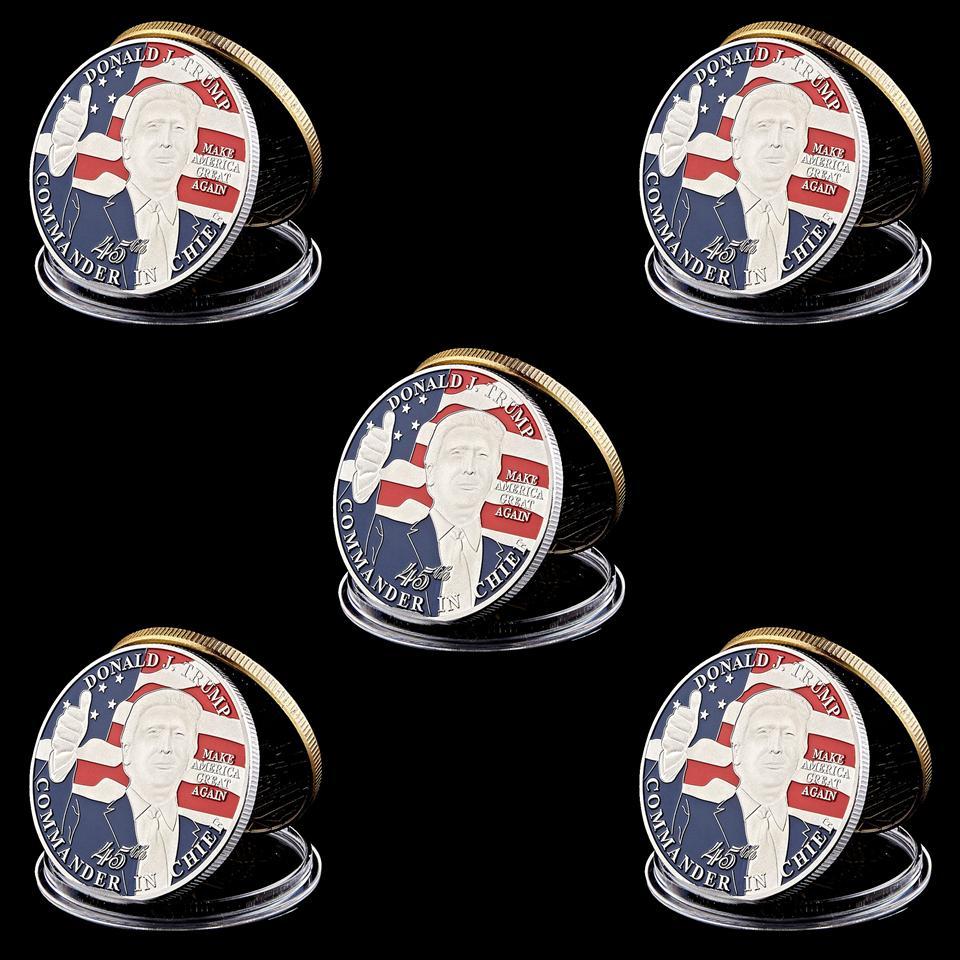 5pcs Donald Trump 45th President Make America Great Again Commander In Chief Silver Plated Commemorative Coin