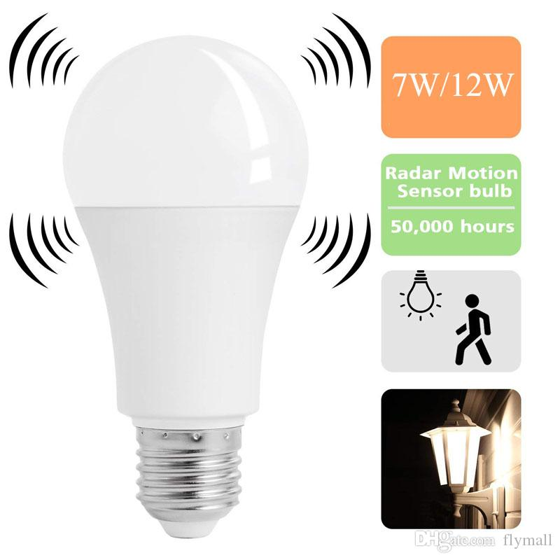 PIR Motion Sensor E27 5//7W LED Lamp Bulb Body Infrared Auto Energy Saving LightZ