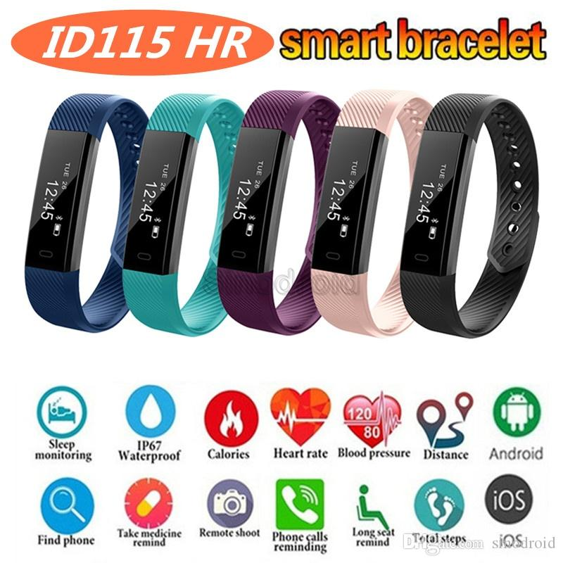 ID115 HR Smart Bracelets Fitness Tracker Step Counter Activity Monitor Band Alarm Clock Vibration Wristband for iphone Android phone 20pcs