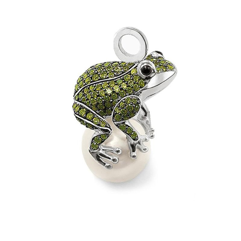 Green CZ Pave Setting Frog Pearl Ball Pendant for Necklace Women Men Thomas Style Silver Fashion DIY Jewelry Making 2018 New