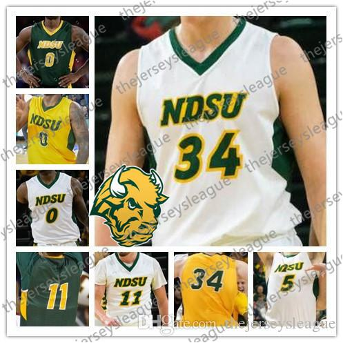 Bison d'État du Dakota du Nord Nom du numéro de n'importe quel type Cousu Vert Jaune Blanc # 0