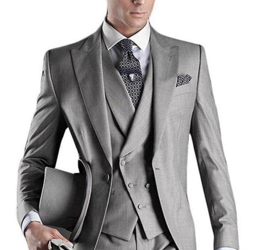 2020 grey 3 pieces Mens Suit Plaid Terno masculino Wedding Groom Tuxedo Tailored Suits for men Custom Made (Jacket+pants+vest)