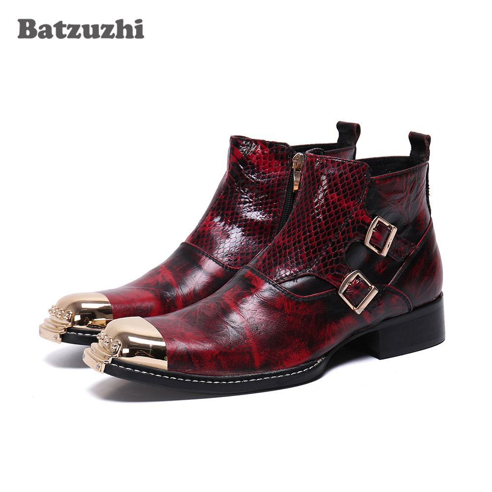 Pelle Batzuzhi Moda Uomo Stivali Oro, Ferro, le dita dei piedi degli uomini di lusso di stivaletti Buckles Red Party abito da sposa Boots chaussure homme