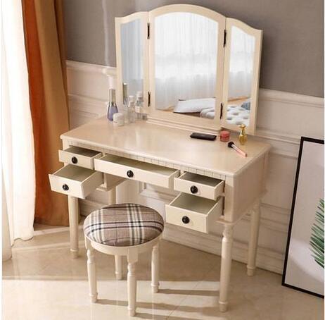 Vendas quentes!!! Grosso frete grátis Dresser três vezes Coluna espelho quadrado gavetas Roman Table / Stool