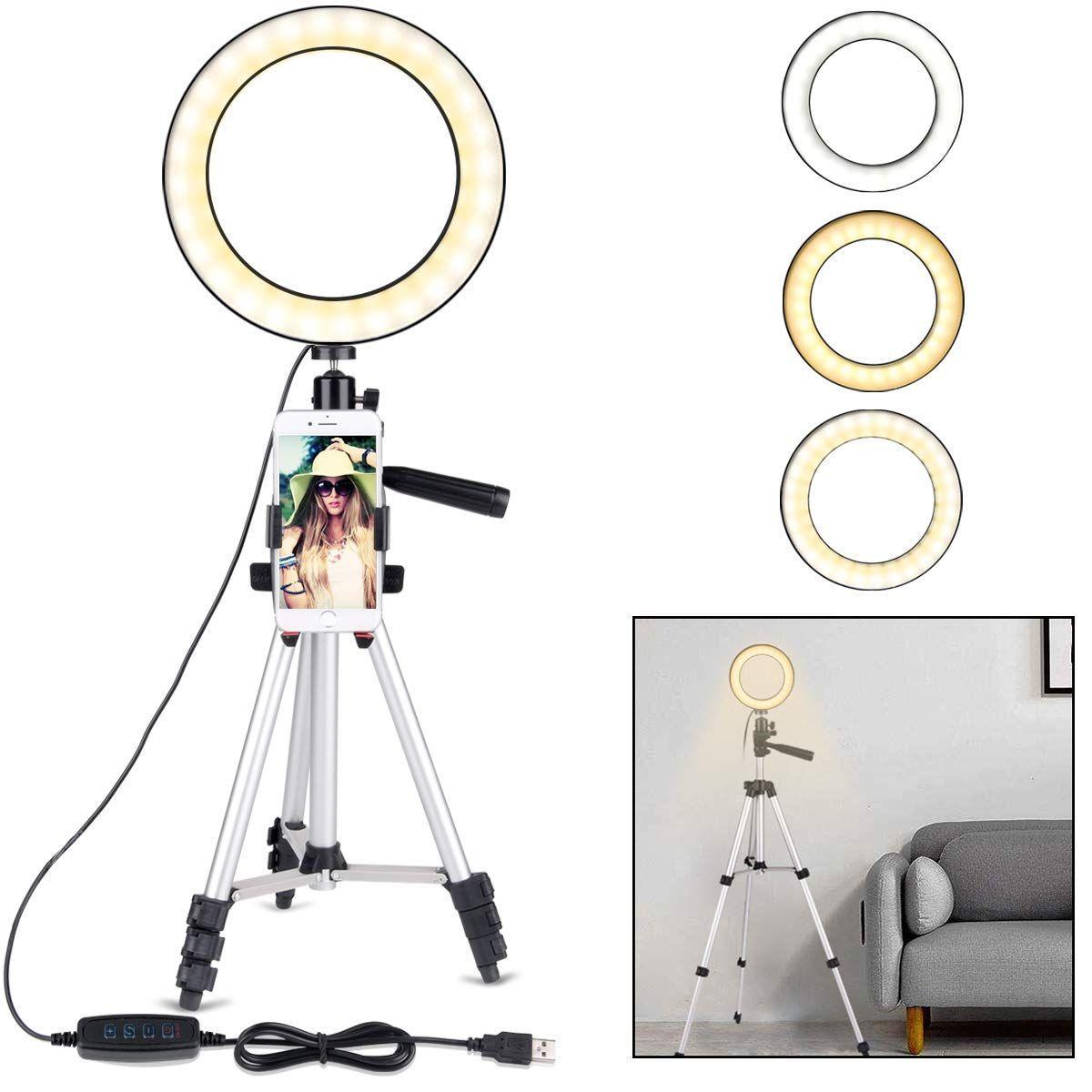 حلقة رنين مع حامل ثلاثي القوائم للفيديو والمكياج على YouTube ، مصباح LED صغير للكاميرا مع مصباح LED لسطح المكتب مع حامل للهواتف الخلوية مع 3 مصابيح M