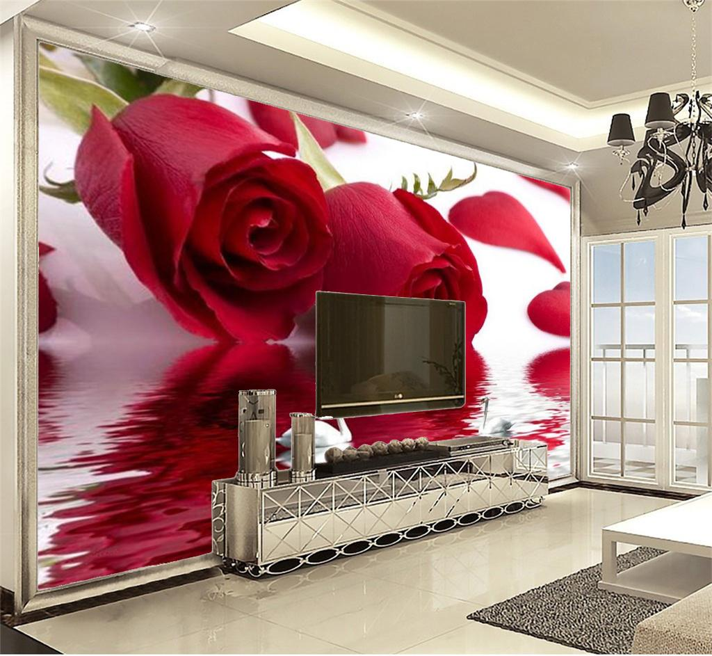 Big Promotion For Wallpaper Beautiful Rose Swan Lake 3d Floral