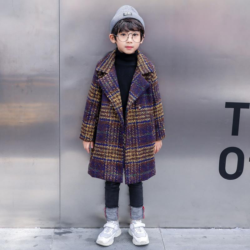 2020 الخريف والشتاء رشاقته بنين الصوف معطف النمط الغربي قماش الصوف منتصف طول الصوف معطف للبنين أزياء خندق الاطفال معاطف