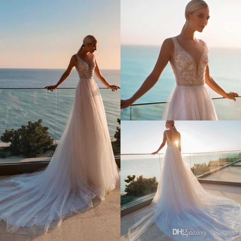 2019 A Line Bohemian Wedding Dresses Deep V Neck Sleeveless Beach Boho Wedding Dress Custom Plus Size Backless Bridal Gowns Sweep Train