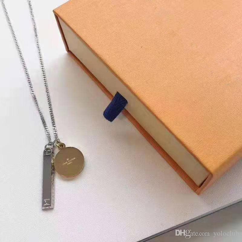 Nueva llegada mujer dogtag grabado Shell colgante de acero inoxidable afortunado doble bloqueo Carta del anillo del collar de los hombres número de regalo al por mayor de joyería