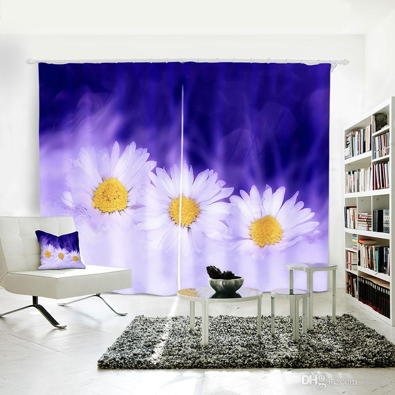 3D Digital printing personality Custom Curtain Clusters of flowers gather beautiful daisies drapes Extra wide Blackout curtain Bedroom li