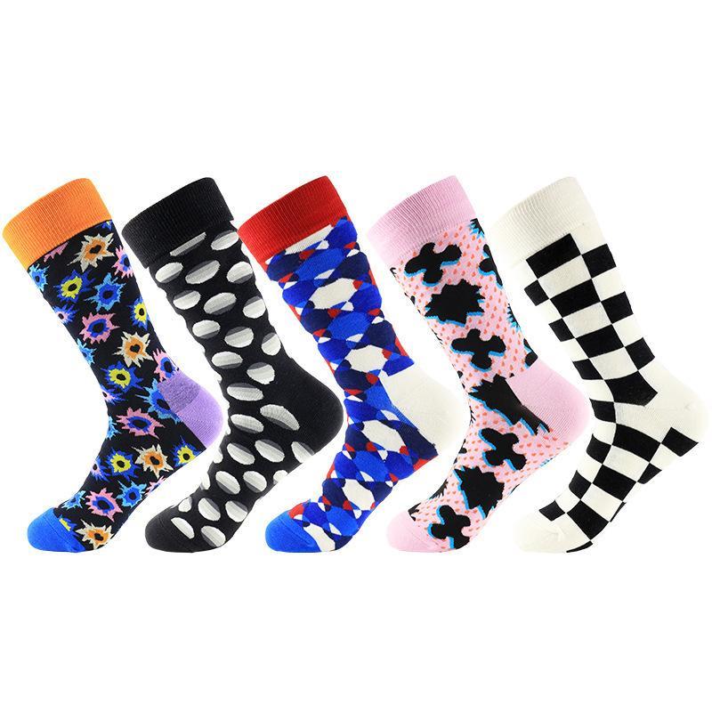 Harajuku Geometry Pattern Calcetines Hombres Colorido Plaid Cómodo Skateboard Causal Divertido Boda Calcetines de algodón 2pcs = 1 pares