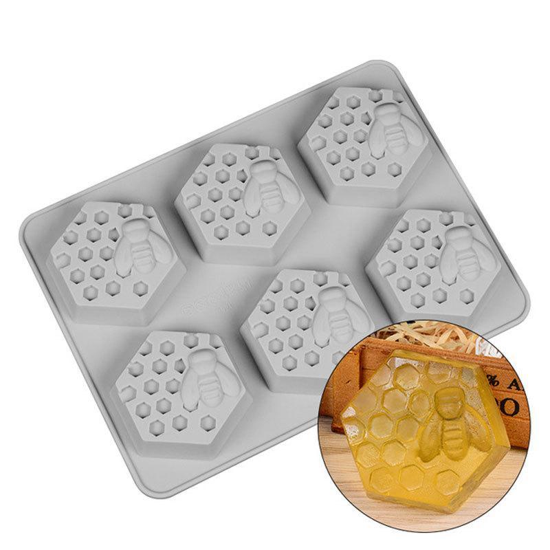 Molde de silicona 6 Agujero abeja de la miel Diseño Jabón Arcilla Cera Molde para hecho a mano del arte de DIY WXV Venta