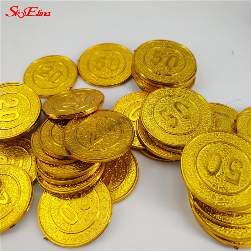100Pcs Gold Treasure Coins Captain Pirate Party Supplies Pretend Treasure Chest Kids Toy Coins Wedding Chip Decoration 7Z