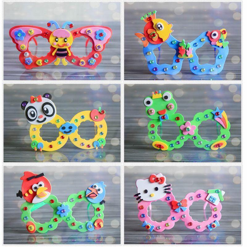 8pcs enfants dessin animé bricolage EVA main lunettes jouets / bébé enfants kingergarden artisanat école d'art, jouets éducatifs T200401 livraison gratuite