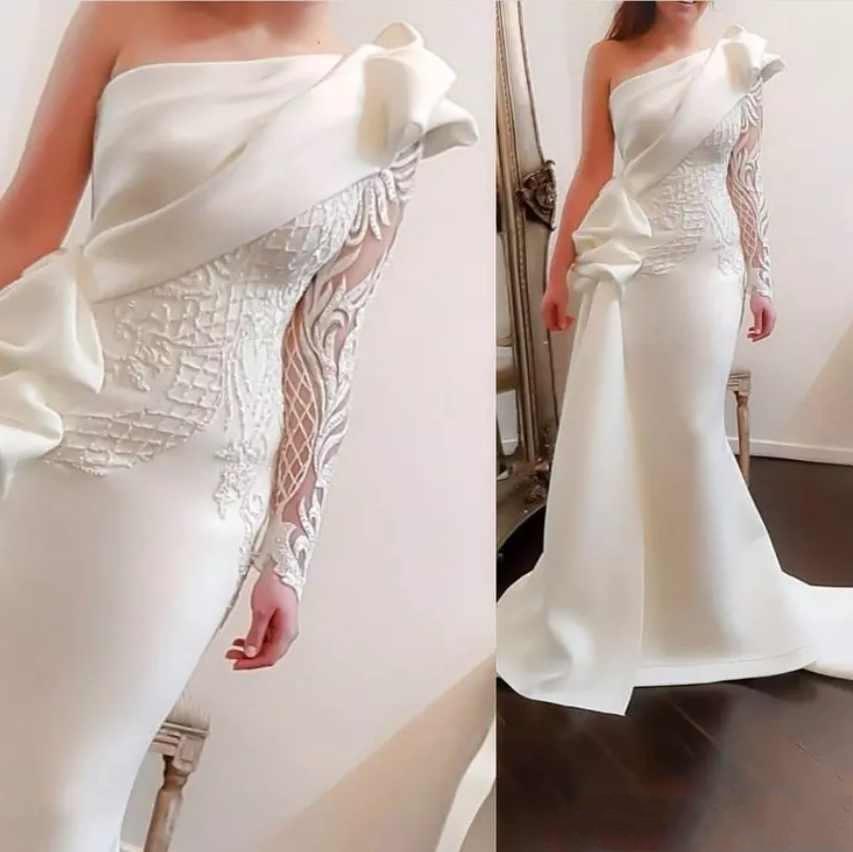 Nouveau luxe blanc robes de soirée pour les femmes portent une épaule dentelle Appliques broderie manches longues ruché formelle robe de soirée robes de soirée