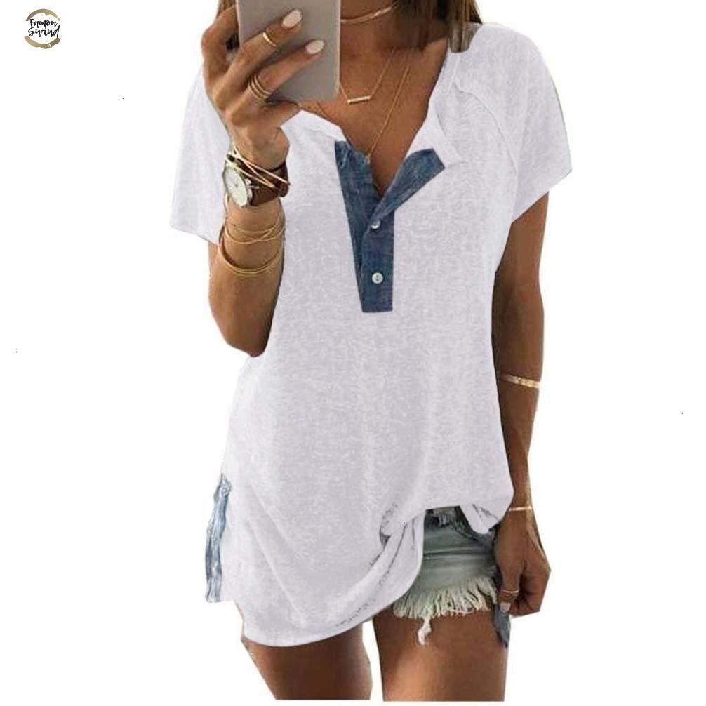 Женщины Плюс Размер сращивания Лоскутная Женщины Кнопка с коротким рукавом Сыпучие Повседневная футболка Топы женские Девушки Повседневный пуловер Большой размер S 4XL
