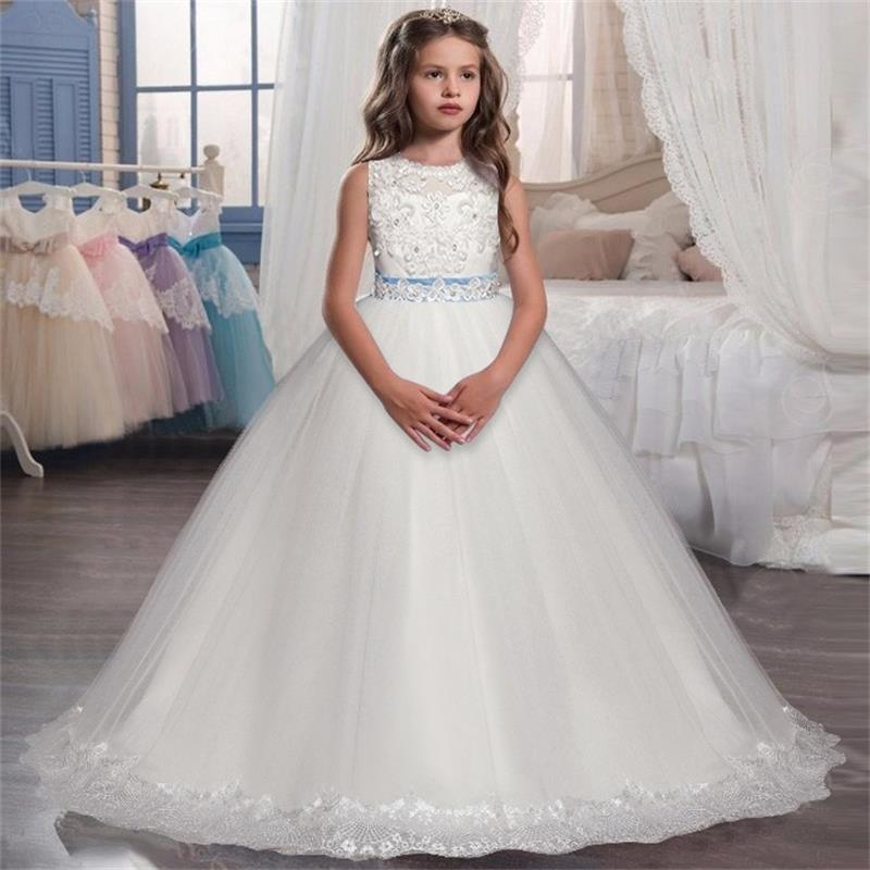 Kids Dresses For Girls White Wedding Long Prom Gown Fancy Flower Girl Dress For Pageant Party Elegant Princess Bridesmaid 14y J190505