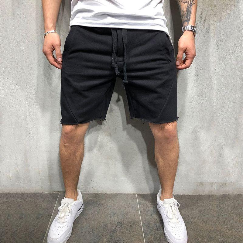 Şık spor şort erkekler yeni fitness pantolon erkek düz renk çalıştıran şort pantolon Boyut S-3XL-2 eğitim gündelik spor