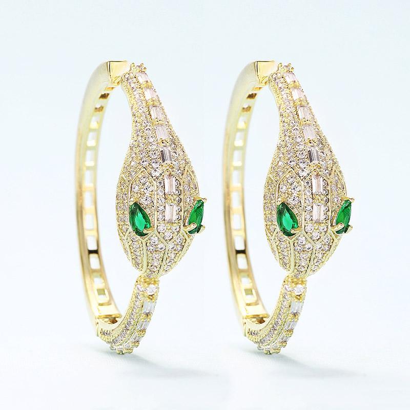 vendita all'ingrosso 45mm di lusso serpente design grande orecchini a cerchio in oro zirconi cubici CZ intarsio gioielli Dubai