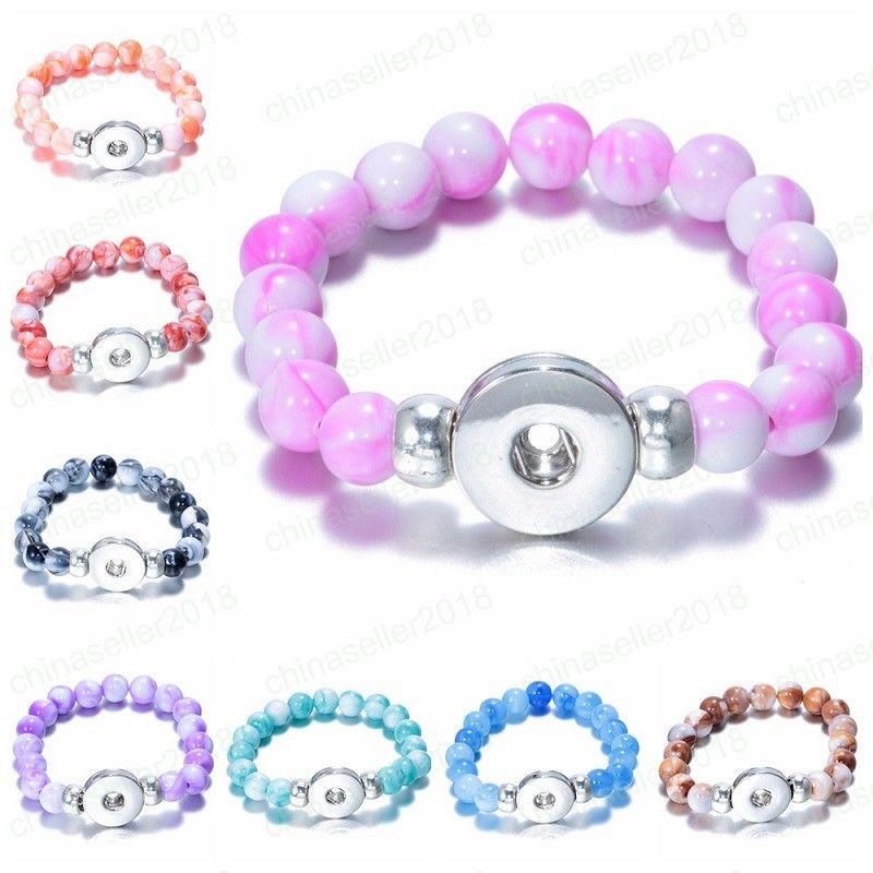 Presente do dia botão snap Beads Charm Bracelet Bangles Fit 18 milímetros Ginger botão Snap DIY Noosa Charme Jóias Acessórios Namorados 10 Styles