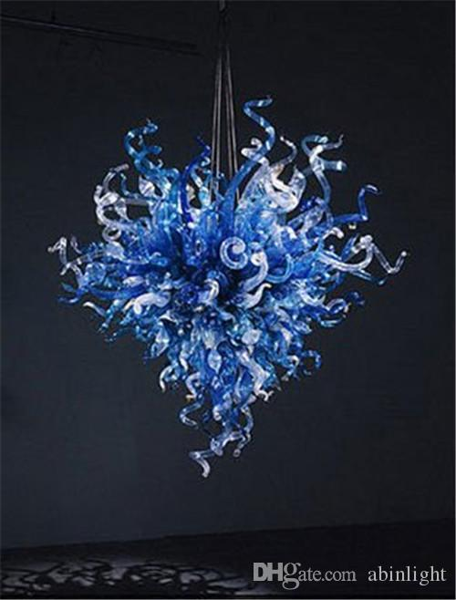 Turkish Style Blue Colored Decorative Art Glass Lighting Pendant Hand Blown Colored Murano Glass Chandelier for Sale