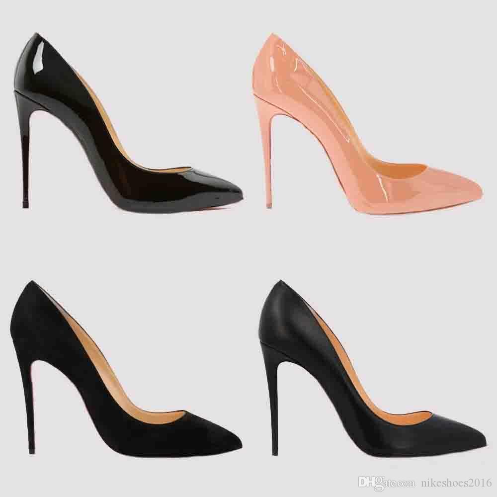Marry 2019 de moda de lujo las mujeres del diseñador de boda zapatos de tacón de 8 cm 10 cm 12 cm desnuda cuero rojo dedos apuntando negro de alta Bombas fondos vestido zapato