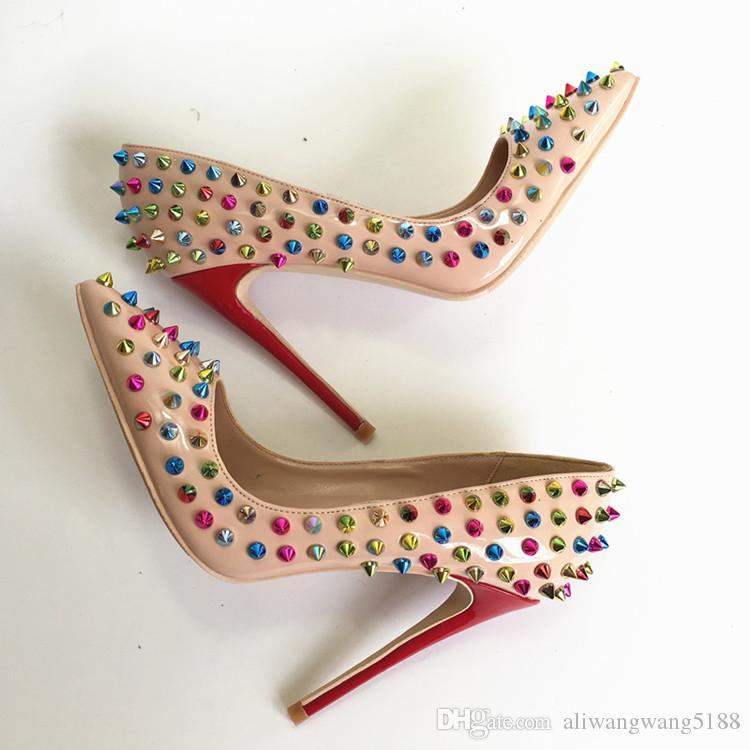 2019s envío gratis moda mujer señora puntas de charol nude Poined Toes zapatos de tacones HEELED tacones de tacón de aguja zapatos 12 cm 10 cm 8 cm