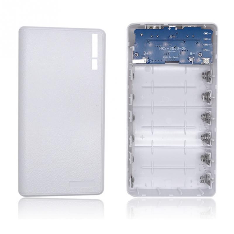 새로운 휴대용 4/6 18650 배터리 전원 은행 외부 플라스틱 케이스 USB 충전 전원 은행 마이크로 USB DC 5V 1A 입력