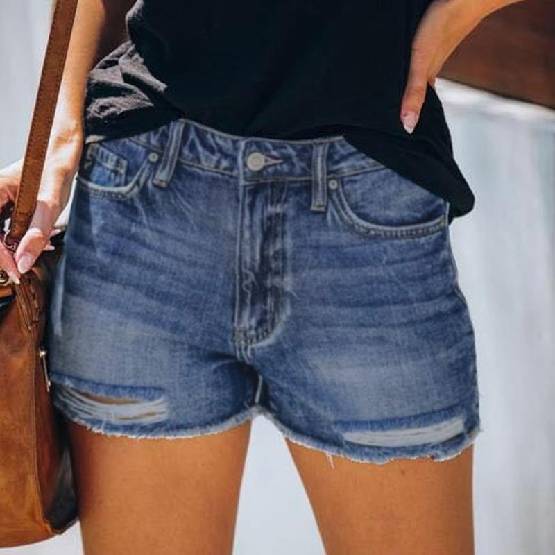 A vita alta moda regolare Pulsante diritta delle donne denim shorts strappato i pantaloni casuali della chiusura lampo Softener donna Jeans Shorts