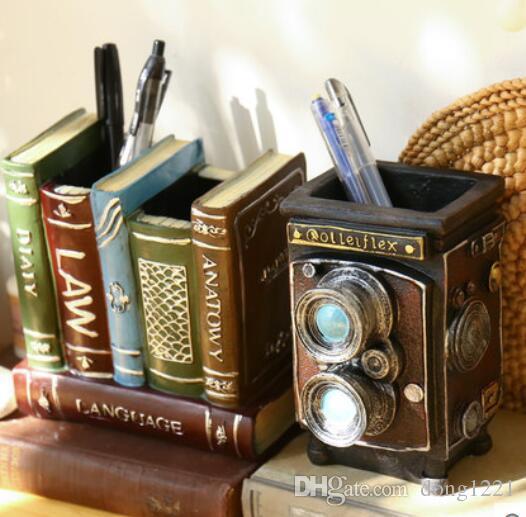Retro europeo creativo de escritorio de la pluma decorativa titular pequeños adornos estudio de la sala de estar decoración decoración artesanía