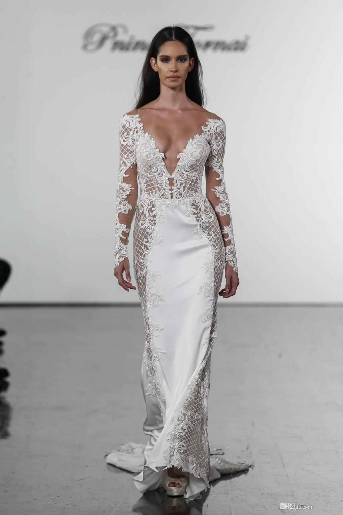 2020 New Pnina Tornai Mermaid Wedding Dresses V Neck Lace Bridal Gowns plus size Long Sleeves Wedding Dress Custom