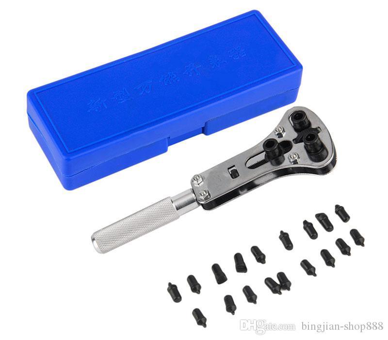 Die beste preis edelstahl einstellbare wasserdichte schraube uhr zurück fallöffner schraubenschlüssel repair tool set mit 18 pins