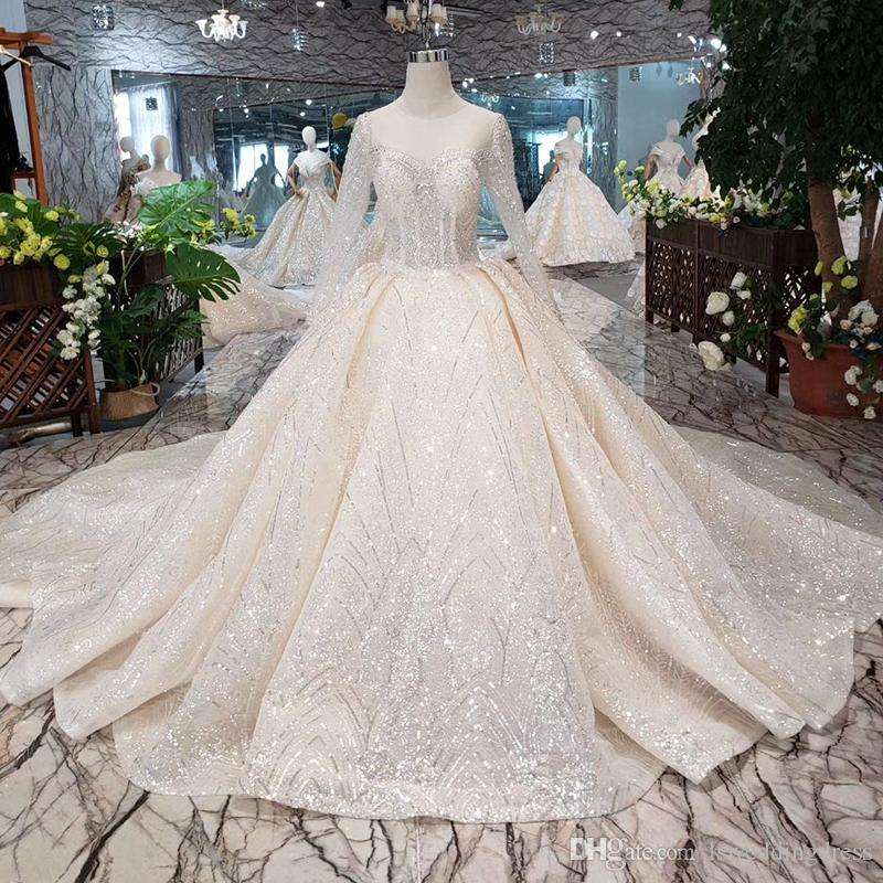 2019 Latest Lebanon Wedding Dresses Long Tulle Sleeve Illusion Neck Open Keyhole Lace Up Back Shining Crystal Applique Sequins Bridal Gowns