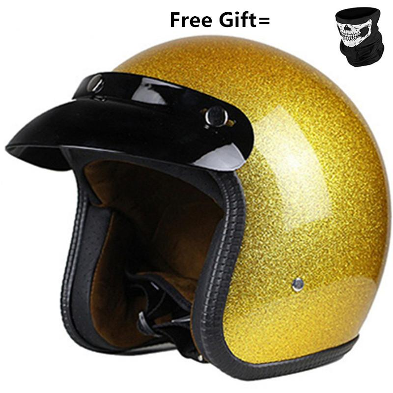 GOLD Motorcycle Helmets Electric Bicycle Helmet Open Face Men Women Summer Scooter Motorbike Moto Bike Helmet CE APPROVED