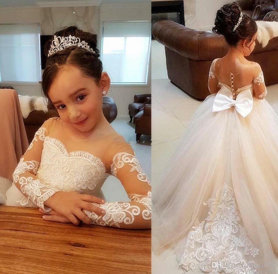 Vintage Adorável Bebê Infantil Criança Batismo Roupas Vestidos Da Menina de Flor Com Mangas Compridas Lace Tutu Vestidos De Baile Barato
