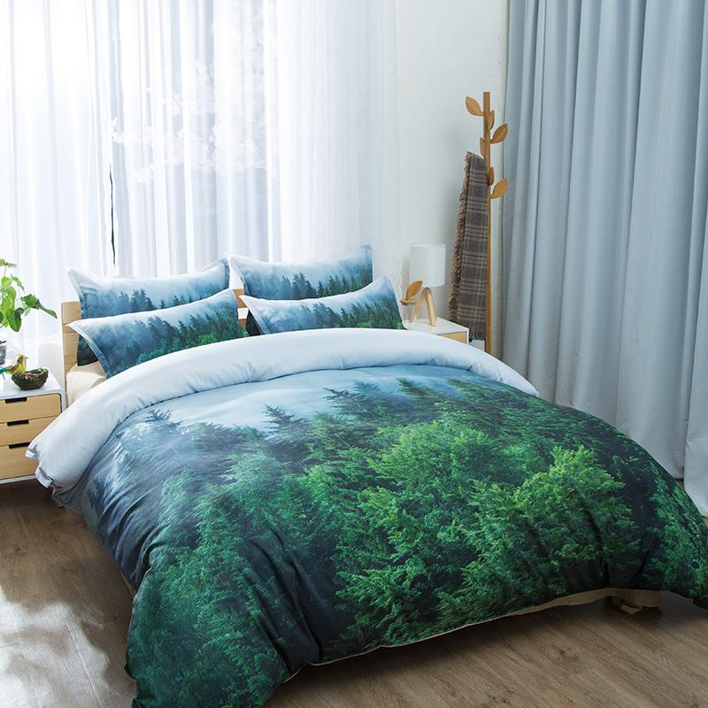 Natural Maple Forest Bedding Set 3 Piece Rustic Fall Autumn Tree Duvet Cover green Woodland Leaves single double king Bed Sets T200414