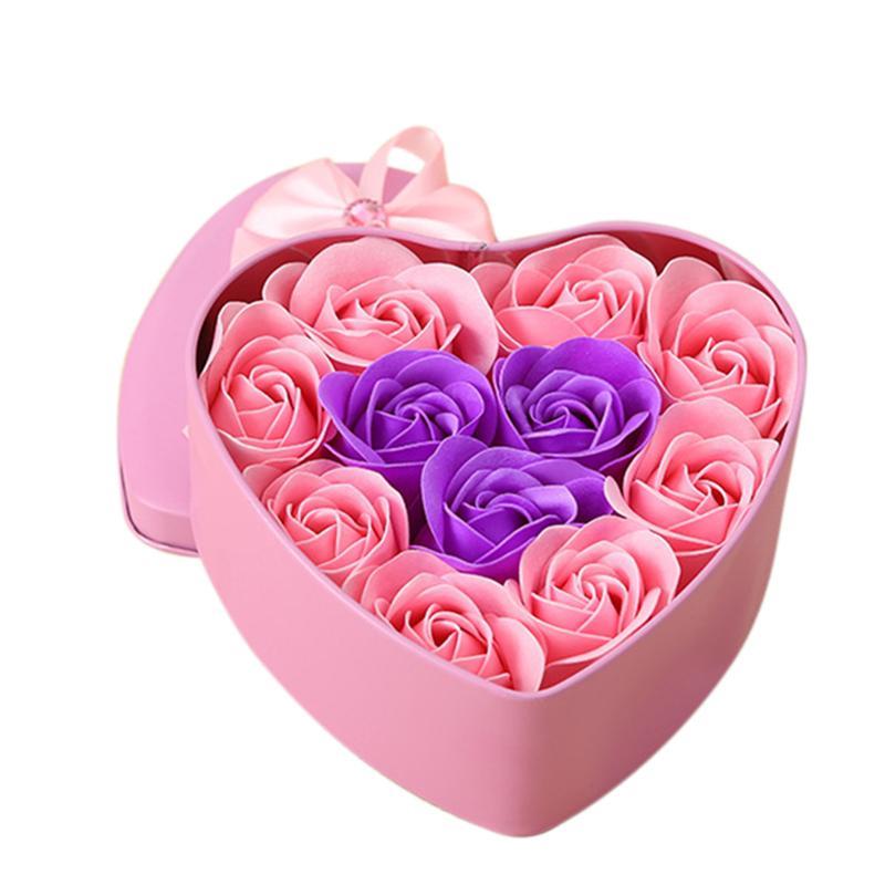 Presentes Forma 11pcs / Box Flowers Artificial Rose Soap Coração DIY flor Decoração do casamento por Souvenir Dia dos Namorados Flore-rosa