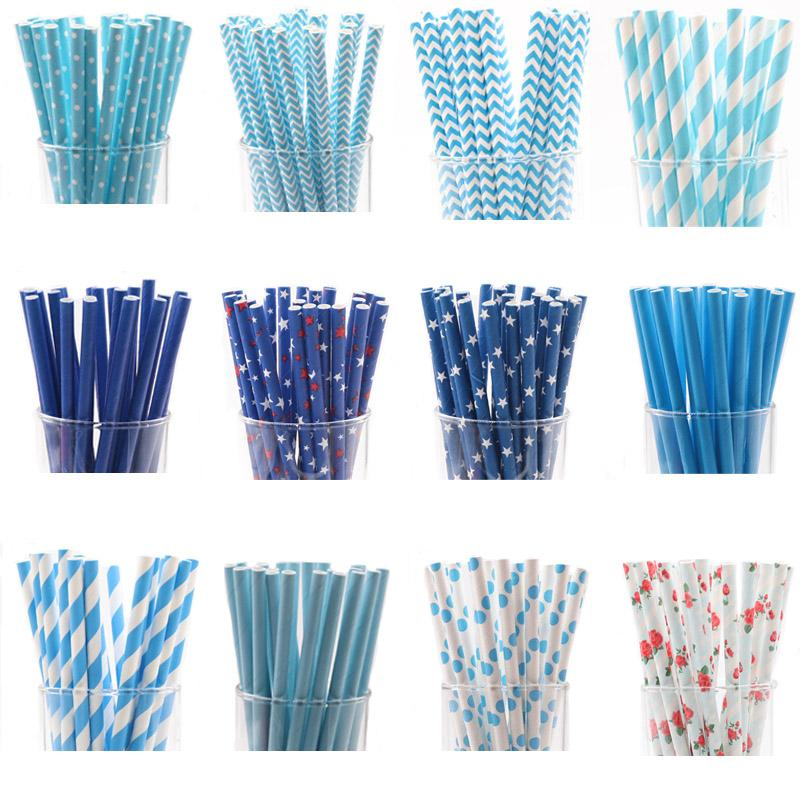 25pcs/lot Blue Paper Drinking Straws Favor For Wedding Decoration Anniversary Day paper straw drinking Birthday supplies