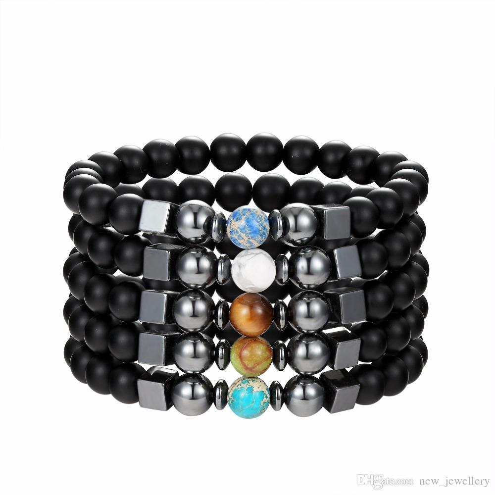 Mode Noir lave Pierre Matted Bracelet De Perles turquoise carré hématite Bracelet Pour Femmes Hommes Bijoux