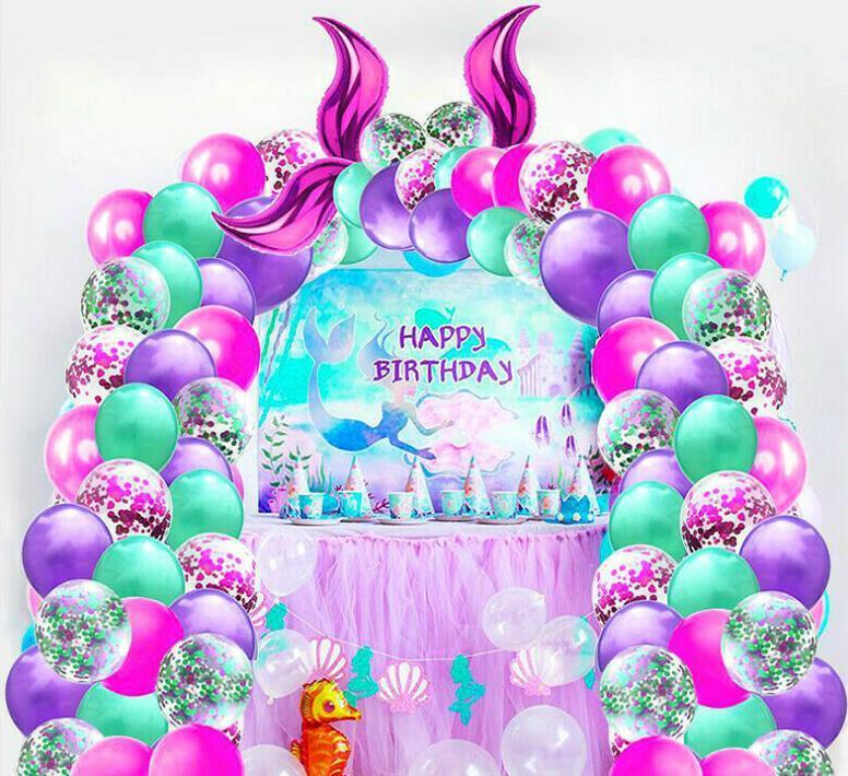 وضع حورية البحر ذيل بالون لعبة أطفال تحت البحر موضوع حفلة عيد الميلاد الديكور جارلاند المعدنية بالون قوس كيت