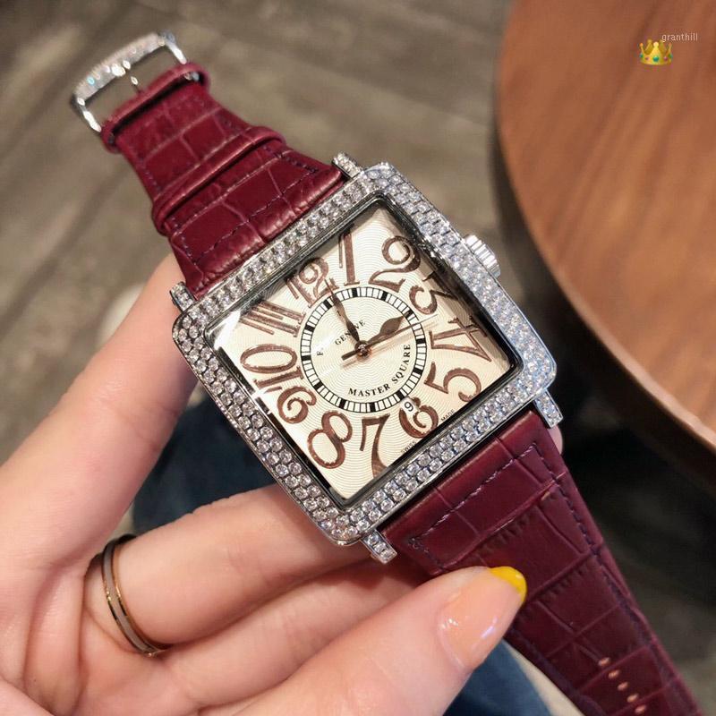 Armbanduhren Frauen Uhren Quarzwerk 36mm * 36mm * 12mm Lederbanduhruhr1