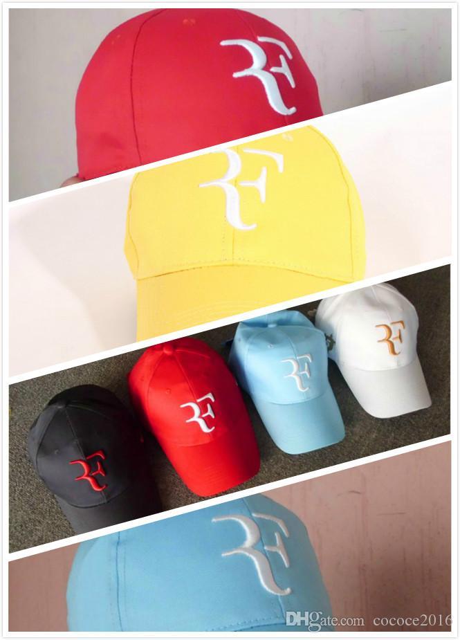 Casquettes réglables 16 couleurs 2019 2018 Casquettes de baseball chaudes hommes femmes Roger Federer RF Hybrid Hat tennis raquette chapeau casquette raquette réglable