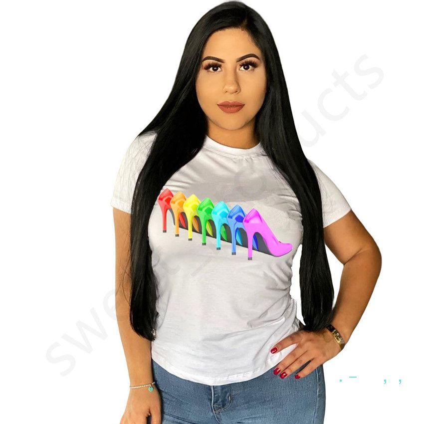 Trendy Ladies T-shirt Estate Calzature colorati Stampa Maniche corte girocollo Pullover shirt Donna Outfits allentato casuale Tops Abbigliamento Hot LY328