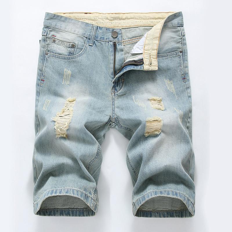 Más el tamaño de 40 pantalones vaqueros rasgados causales de los hombres jeans rectos pantalones para hombre Homme la rodilla del cortocircuito