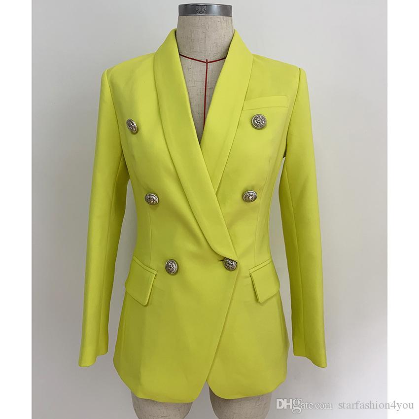 Nuovo con marchio di marca Top Quality Design originale Giacca slim doppiopetto da donna Fibbie di metallo Blazer giallo Colletto a scialle retrò Outwear