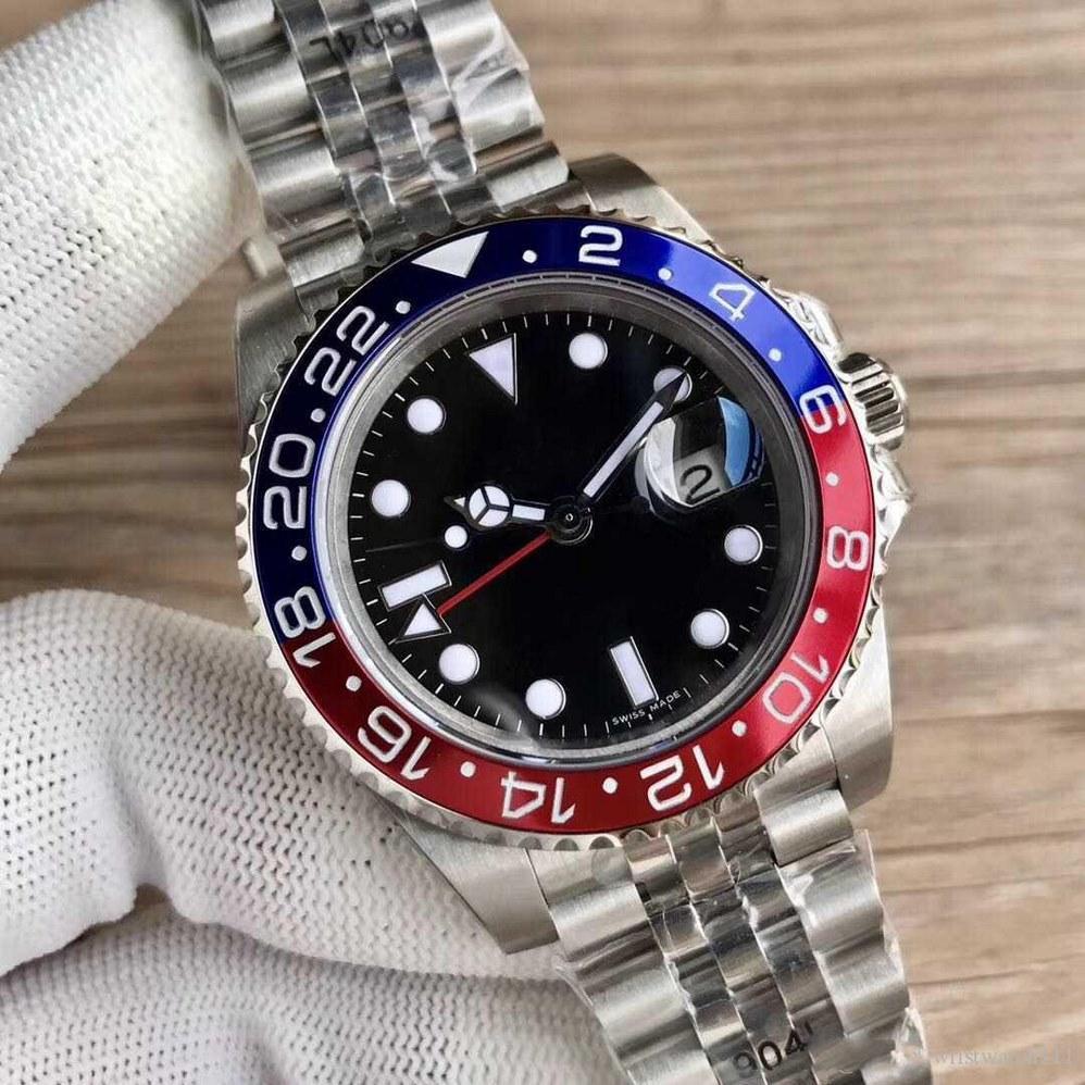 19 개 색상 GMT 시계 40mm 날짜 남성 자동 기계 RLX 126710 시계 청소 운동은 없음 배터리 모델 시계 없습니다 (621)