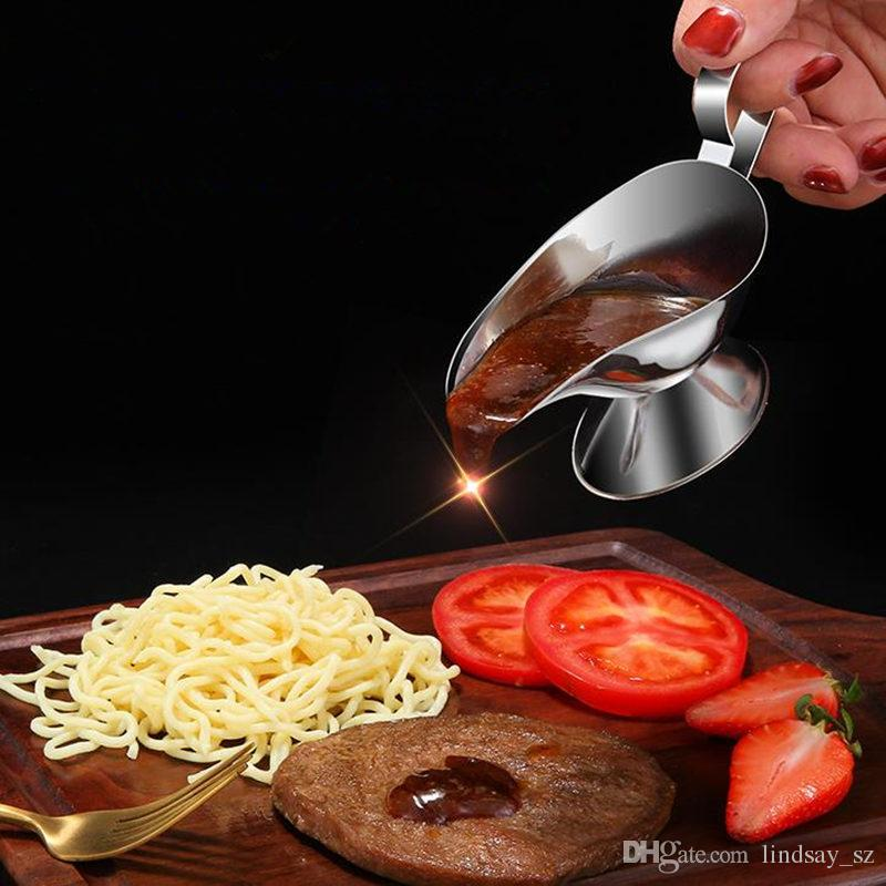 New Stainless Steel Sauce Seasoning Pot Western Steak Sauce Container Black Pepper Seasoning Cup Sauce Boat F20174025